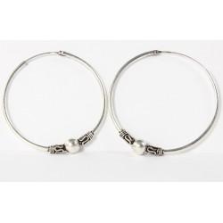Echt Silber Creole Silber, Bali Hoop, 35 mm