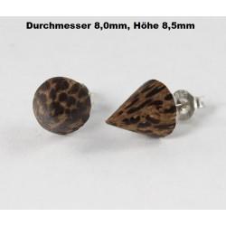 Ohrstecker Holz Kegel braun/schwarz