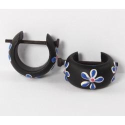 Creole Holz schwarz mit blauer Blume bemalt