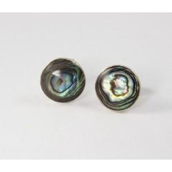 Ohrstecker Perlmutt rund, in Silber eingefaßt