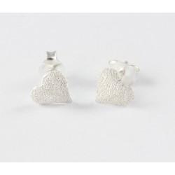 Ohrstecker Herz   diamantiert gestrahlt Silber