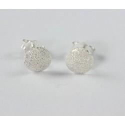 Ohrstecker Rund diamantiert gestrahlt  Silber