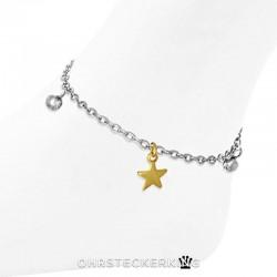 Fußkettchen mit Stern (vergoldet) und Kugeln Edelstahl