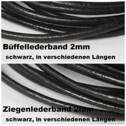 Lederbänder aus Büffel- und Ziegenleder 2mm, schwarz, in verschiedenen Längen