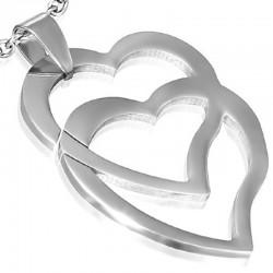 Kettenanhänger Herz, doppelt, ausgeschnitten Edelstahl