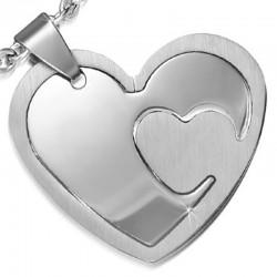 Kettenanhänger Herz, zweiteilig, Edelstahl