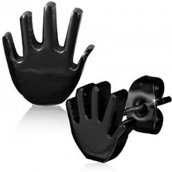 Ohrstecker Hand schwarz Edelstahl