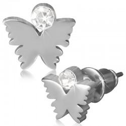 Ohrstecker Schmetterling mit Zirkonia,Edelstahl