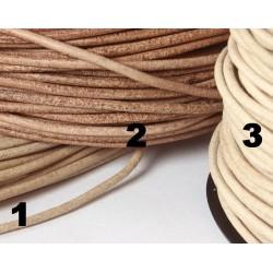 Lederbänder Büffel-, Rind-und Ziegenleder 2 mm Ø, natur/braun