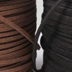 Lederbänder,  Wild/ Velour Leder eckig Imitat 3 x 1,5 mm schwarz/braun