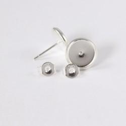 Ohrstecker Rohlinge für 8 mm Cabochons, Silberfarben mit Echt Silber Verschluss