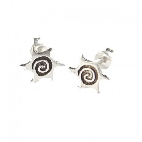 Ohrstecker Sonne, Spirale Echt Silber (925-Silber)