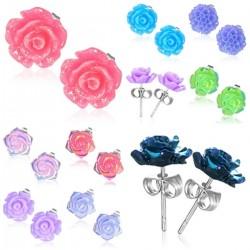 Ohrstecker Blumen bunt aus Resin mit Edelstahl-Stift + Edelstahl-Verschluss