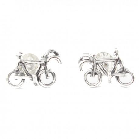 Fahrrad Rennfahrrad Ohrstecker Echt Silber (925-Silber)