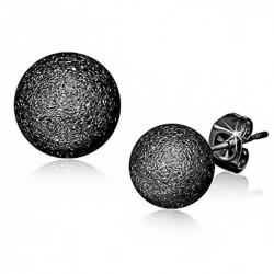 Ohrstecker Kugel 5 mm schwarz, sandgestrahlt Edelstahl
