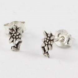 Ohrstecker Edelweiss Blume klein Echt Silber