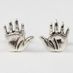 Ohrstecker Hand gross Echt Silber