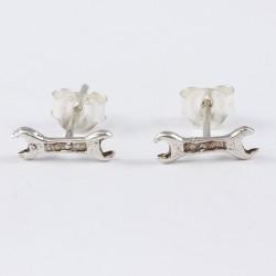 Silber Ohrstecker Schraubenschlüssel, Doppelmaulschlüssel