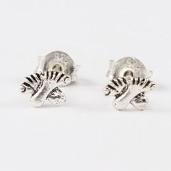 Ohrstecker Fuß doppelt klein Silber