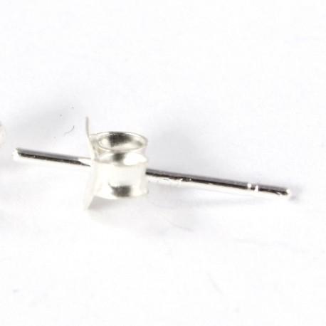 Ohrstecker-Stifte mit Verschluss,925-Silber, Ohrstecker-Rohling zum Basteln