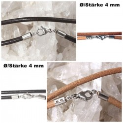 Lederketten Ø 4 mm mit Edelstahl Verschluss, Länge von 35-100 cm wählbar