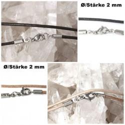 Lederketten Ø 2 mm mit Edelstahl Verschluss, Länge von 35-100 cm wählbar