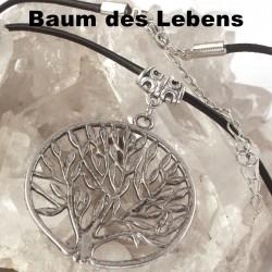Baum des Lebens Symbol Kettenanhänger an Lederkette