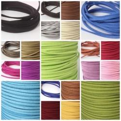 Lederbänder, Wild / Velour Leder Imitat,  - 24 Farben -  eckig 3 x 1,5 mm
