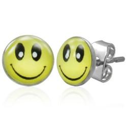 Smile Cabochon Ohrstecker aus Edelstahl