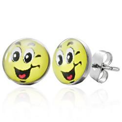 Smiley Smile Logo Cabochon Ohrstecker aus Edelstahl.