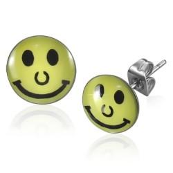 Smiley Smile  Logo Cabochon Ohrstecker aus Edelstahl