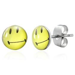 Cabochon Logo Ohrstecker Smiley Smile  Edelstahl