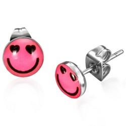 Smiley Smile Pink Logo Cabochon Ohrstecker aus Edelstahl.