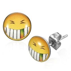 Smiley Smile 10 mm groß  Logo Cabochon Ohrstecker aus Edelstahl