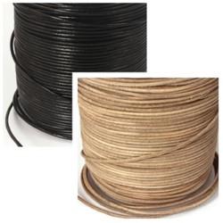 Lederbänder, Echt Ziegenleder Ø 1 mm schwarz/natur 1 m bis 5 m