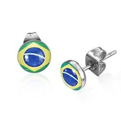 Ohrstecker Brasilien Flagge Edelstahl
