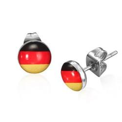Ohrstecker Deutschland Flagge in Edelstahl eingefasst