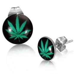 Ohrstecker Cannabis in Edelstahl eingefasst