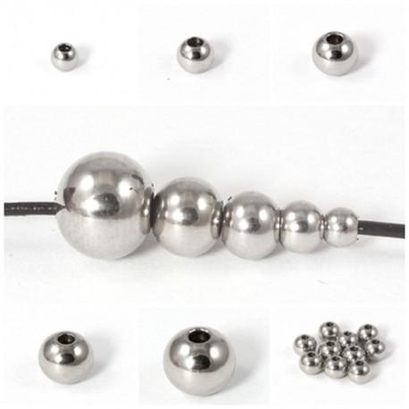 Kugeln aus Edelstahl mit Loch Ø 8-,6-,5-,4-,3 mm zum Basteln für Schmuck
