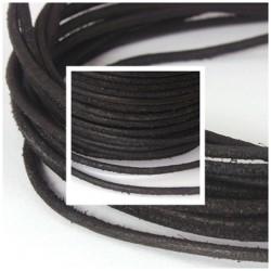 Lederbänder, Lederband aus Rindleder schwarz matt Wildleder Look rund Ø 2 mm