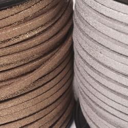 Silber / Gold, Lederbänder, Wild / Velour Leder Imitat eckig 3 x 1,5 mm