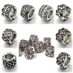 Edelstahl Perlen / Röhren, Loch 6 mm, Optik Antik Silber zum Basteln für Schmuck