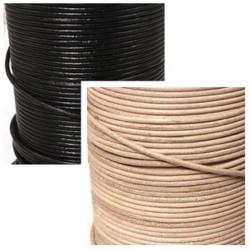 Lederbänder, Echt Büffelleder Ø 1,8 mm schwarz/natur 1 m bis 50 m Länge