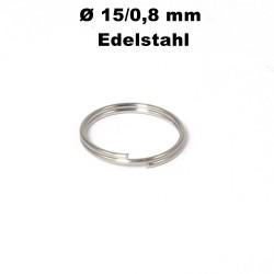 Schlüsselringe  15 / 0,8 mm Durchmesser / Stärke Edelstahl