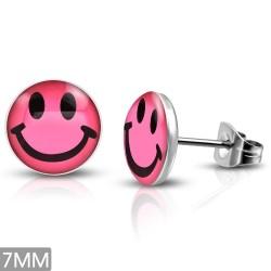Smiley, Smile, Pink, Logo Cabochon Ohrstecker aus Edelstahl