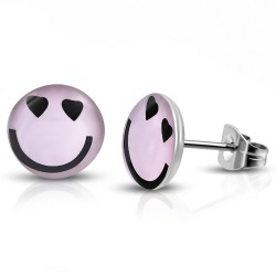 Smiley, Smile, Pink hell, Logo Cabochon Ohrstecker aus Edelstahl