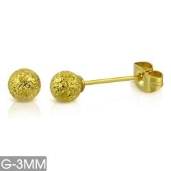 Ohrstecker Kugel 3 mm Edelstahl gold-gelb, sandgestrahlt