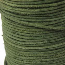 Wildlederbänder, Lederbänder Grün Echt Büffelleder Ø 2 mm