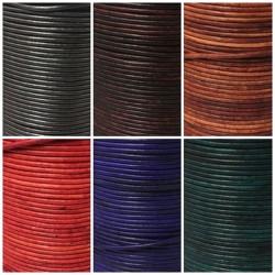 Lederbänder Echt Büffelleder - Wischtechnik in 6 Farben - rund Ø 2 mm