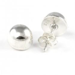 Ohrstecker Kugel, Halbkugel 8 mm Silber